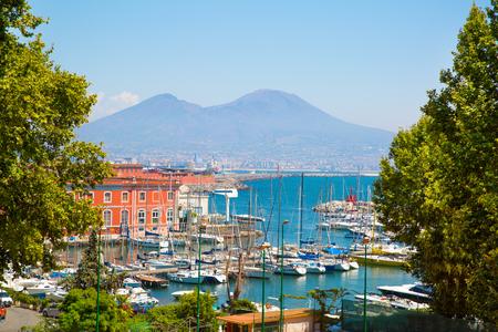 Napoli bay (Naples bay), vesuvius volcano. Beautifull seascape, beautiful panorama, Italy.