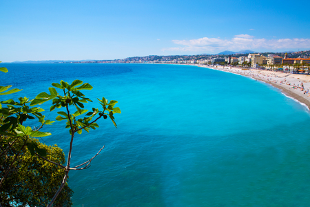 Nice, beautiful beach, French Riviera, Cote dAzur or Coast of Azure.