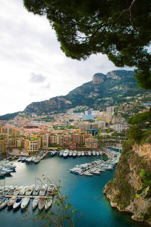 Monaco, panoramic view of port de Fontvieille. French riviera, azur coast. Bay with a lot of luxury yachts.  Stock Photo