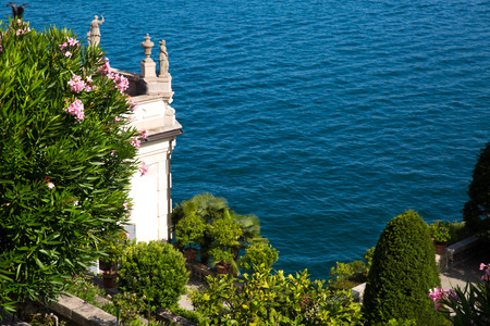 Maggiore lake in Italy, beautiful garden with oleander bushes in Borromeo island Isola bella.  Zdjęcie Seryjne