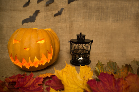 Halloween symbol jack-o-lantern with yellow, orange, green leaves, black lantern and bats. Scary carved pumpkin with burning candles.