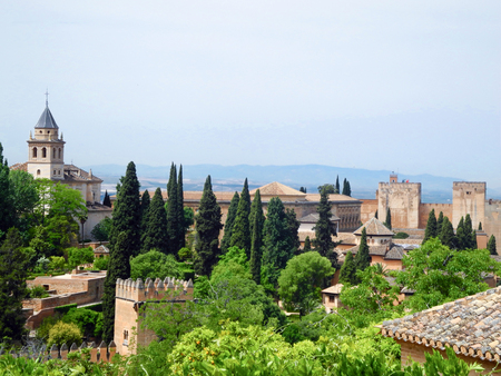 Alhambra fortress view, Granada, Spain. 免版税图像