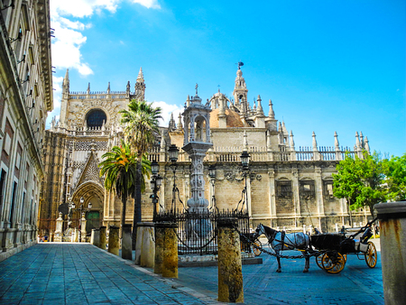 Sevilla cathedral and Giralda tower in Sevilla, Andalusia region, Spain. Horse carriage near the cathedral.