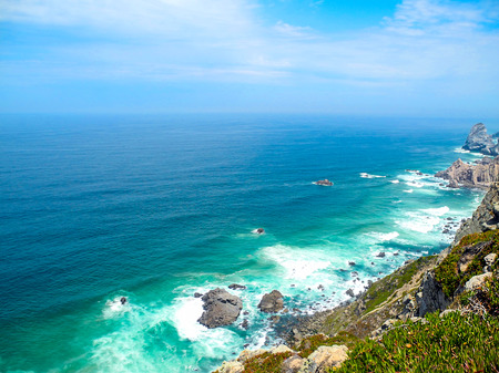 Atlantic ocean, Portugal. The end of the mainland. 版權商用圖片