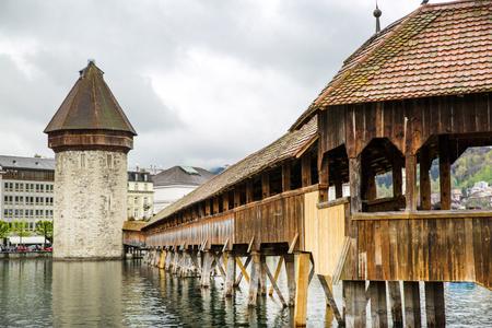 Lucerne bridge and Lake Lucerne. Famous Chapel Bridge in Lucerne, Switzerland.