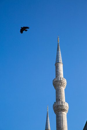 Islamic minarets and birds, blue sky. Oriental style. Archivio Fotografico
