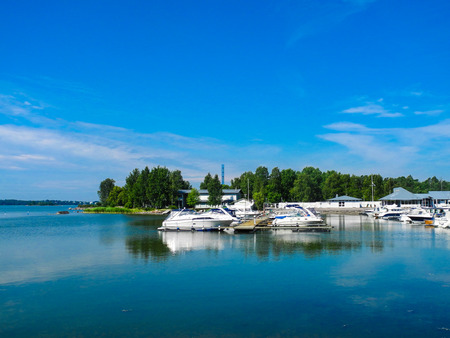 Helsinki, Finland. A lot of boats and yachts, beautiful lake panorama. Bright summer day with blue sky. Stock Photo - 123803575
