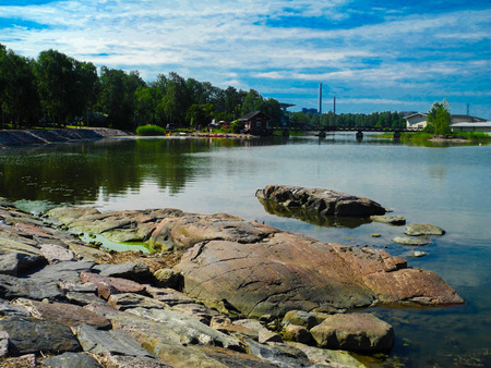 Beatiful nature in Finland. Scenic lake view, blue summer sky. Stock Photo - 123803577