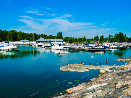Helsinki, Finland. A lot of boats and yachts, beautiful lake panorama. Bright summer day with blue sky. Stock Photo - 123803587