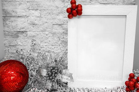 Christmas red and silver decorations, mock-up, free space for text.