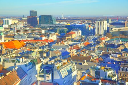 Vienna aerial panoramic view. Beautiful city downtown landscape, Austria.