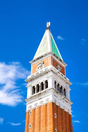 Bell tower of St Marks Basilica, called St Marks Campanile, located in the Piazza San Marco in Venice, Italy.