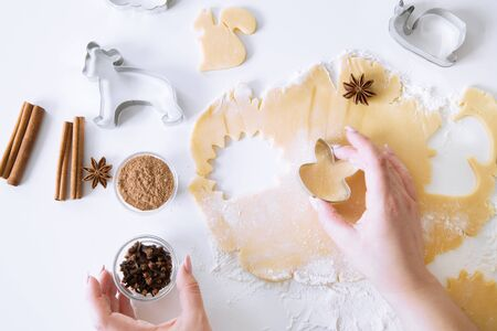 Cookies preparations, female hand holding cookie cutter. Spice ingredients on white table, top view. 写真素材
