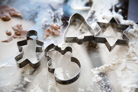 Christmas cookie cutters, close up.