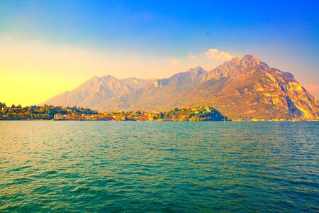 Lake Como and Alps mountains beautiful landscape. Amazing view, Italy.