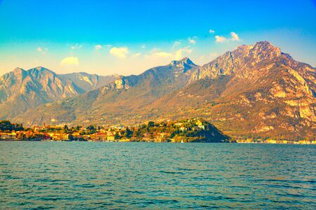 Como lake scenery landscape in evening  light in Lombardy, Italy.
