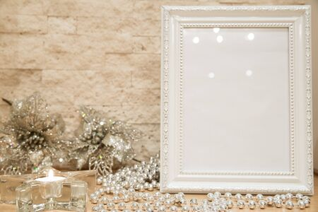 Christmas copy space with sparkling decoration, star candlestick, close up.