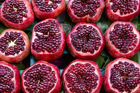 Tasty red pomegranates, close up.  写真素材