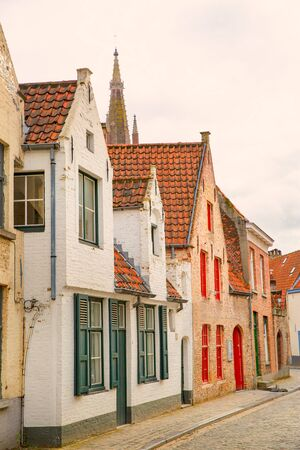 Medieval colorful building in Bruges, Belgium. Old historical architecture.