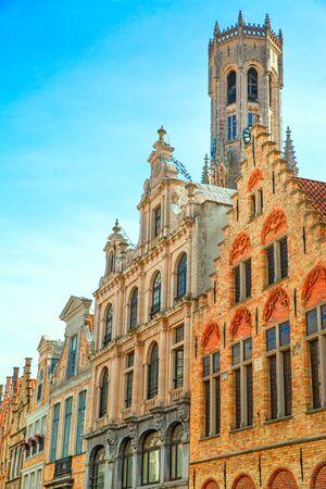 Markt Square in Bruges, Belgium medieval building. Belfort (Belfry) tower.