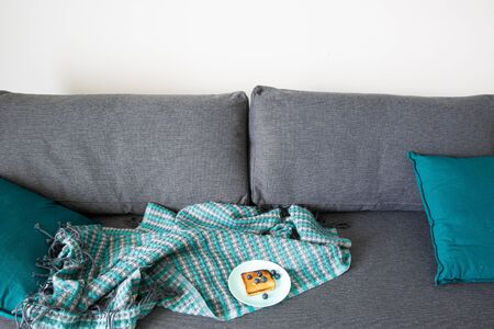 Cozy grey sofa and turquoise cushions. a plate with toast with blueberries, comfortable home concept.