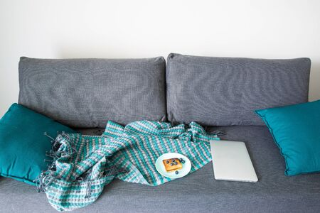 Cozy grey sofa and turquoise cushions. a plate with toast with blueberries, stay at home, home office concept.
