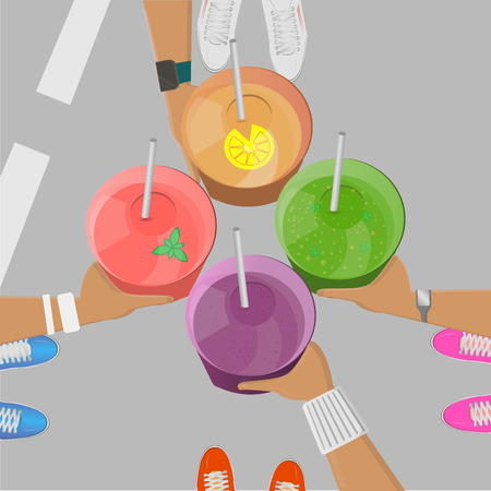 Sport girls holging smoothies in hands top view vector illustration. Smoothie to go. Organic fruit shake.