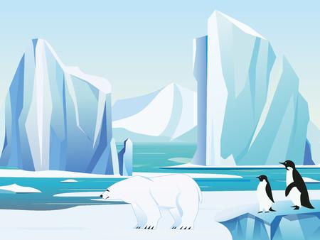 Ilustracji wektorowych arktyczny krajobraz z niedźwiedzia polarnego i pingwinów, góry lodowej i gór. Zimowe tło zima klimat.