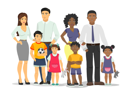 African-American and white family isolated vector illustration.