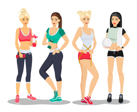 Beautiful sport fitness girls models. Young woman gym flat vector illustration.