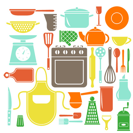 Vector colorful kitchen icons set. Flat style cooking elements. Illustration