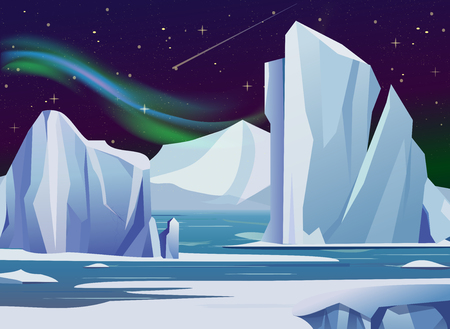 Vector illustration arctic night landscape with, iceberg and mountains. Cold climate winter background polar lights and stars. Ilustração