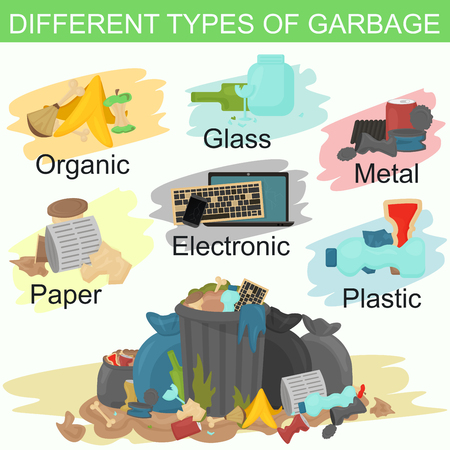 refuse: Vector illustration of sorting different types of garbage. Pile of smelling garbage lying around.