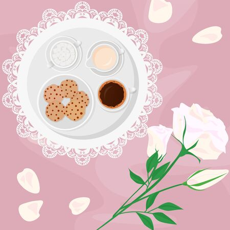 Vector illustration of morning coffee, milk, sugar and sweets in bed with flowers and biscuits with chocolate drops, on pink background in flat cartoon style.