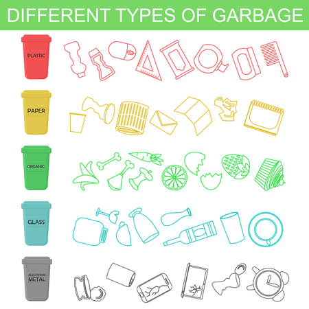 Vector illustration of sorting different types of garbage in line and flat style.