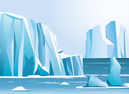Illustration vectorielle paysage arctique iceberg et montagne. Contexte hivernal. Vecteurs
