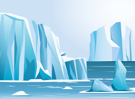 Vector illustration arctic landscape iceberg and mountains. Winter background.