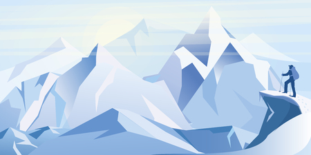 Vector illustration of ice mountains with traveller on the top of mountain. Winter background flat style illustration.