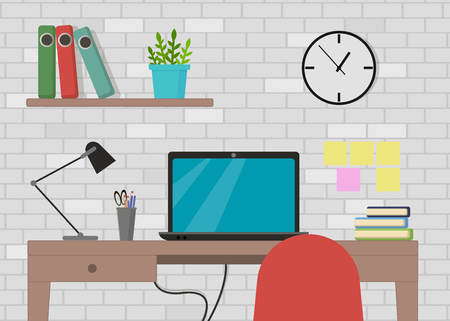 Vector illustration in flat style interior of working place with computer, lamp, to do list, working programs on monitor, organizer, shelf, books on brick wall background.
