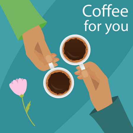 break in: Vector illustration of hands holding cup of coffee. Coffee time, coffee break for couple concept in flat style. Illustration