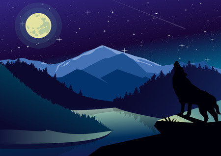 Vector landscape illustration with mountains and forests in night time. Wolf on the top of mountain howling at the moon on background of river view, dark sky and stars. Stock Photo