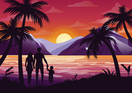 family holiday: Vector illustration of family silhouette with mother, father and kid on the beach under the palm tree on sunset background and mountains in flat style. Stock Photo