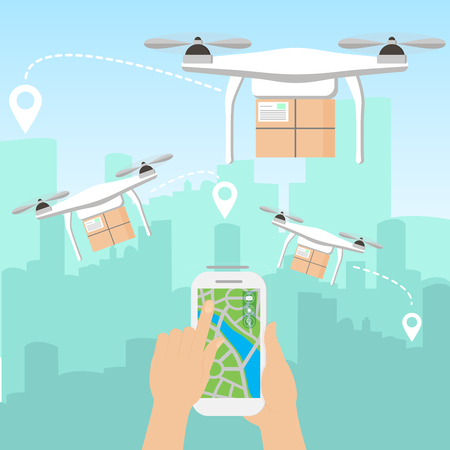 Vector illustration of hands launching few delivery drones with packages by smartphone in front of the skyline of a big modern city with skyscrapers in flat cartoon style. Reklamní fotografie
