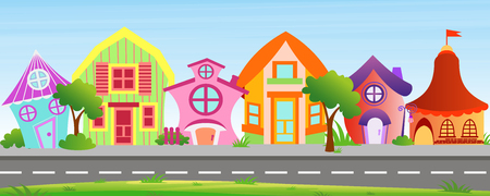 Vector illustration of cartoon houses in bright colors on sky background. Colorful lovely and funny buildings on street with trees and bushes in cartoon flat style. Illustration