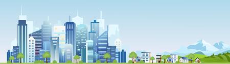 Vektorillustration der städtischen Industrielandschaft der Stadt . Große moderne Stadt mit Wolkenkratzern und Bergen mit Landhäusern in der flachen Karikaturart