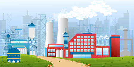 Stock vector illustration of an industrial zone with factories, plants, warehouses, enterprises in the flat style landscape. Illustration