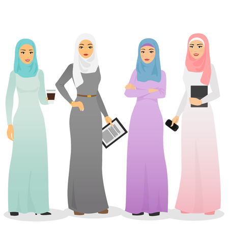 Vector illustration set of business arab women characters with hijab. Muslim female people. Vettoriali