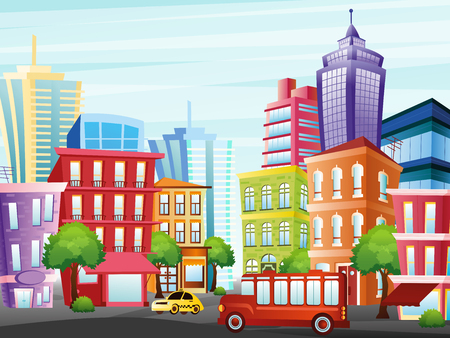 Vector illustration of city street with funny colorful buildings, skyscrapers, trees, taxi and bus on light sky background in flat cartoon style.