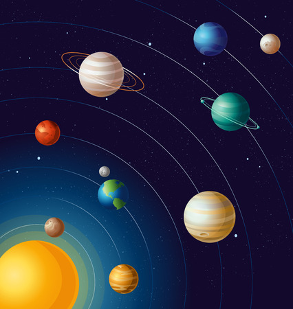 Vector illustration of planets on orbits the sun astronomy educational banner. All planets of solar system with blue background in flat cartoon style.