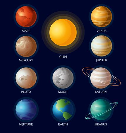 ソーラー システムのベクトル イラスト フラットの漫画のスタイルで暗い青色の背景上の名前と太陽のすべての惑星をオブジェクトします。  イラスト・ベクター素材